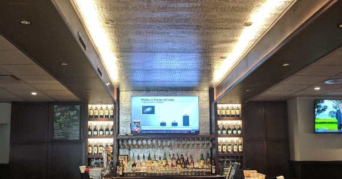 Outback Steakhouse worked with ASI to create a beautiful specialty ceiling panels over over their bar and throughout the restaurant for accents.
