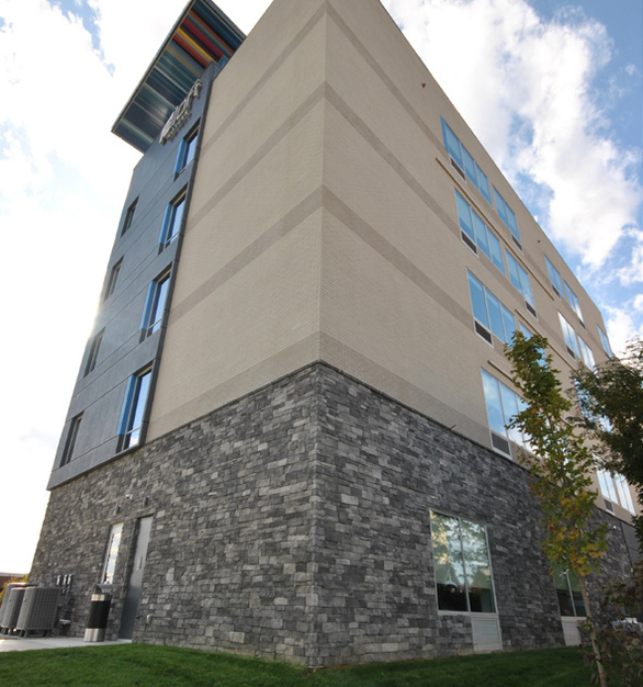 Speedymason brick and stone lath systems were used to achieve the desired exterior finish of the Aloft Hotel in West Chester, OH. Both systems have a full bed mortar system that allows installers to feather out imperfections.