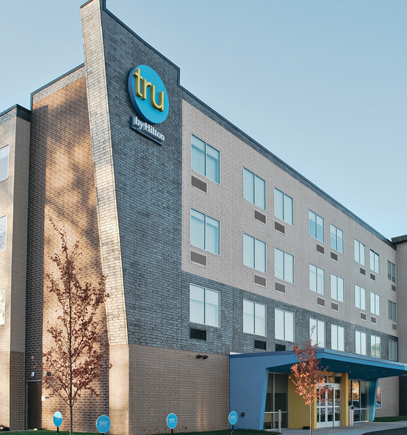 The exterior of Lath Hilton features different types of brick finishes all on Speedymason's Brick Lath barrier system.