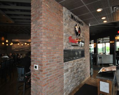 David Reay's Diner and Tavern welcomes guests with a dynamic thin brick wall by Speedymason.