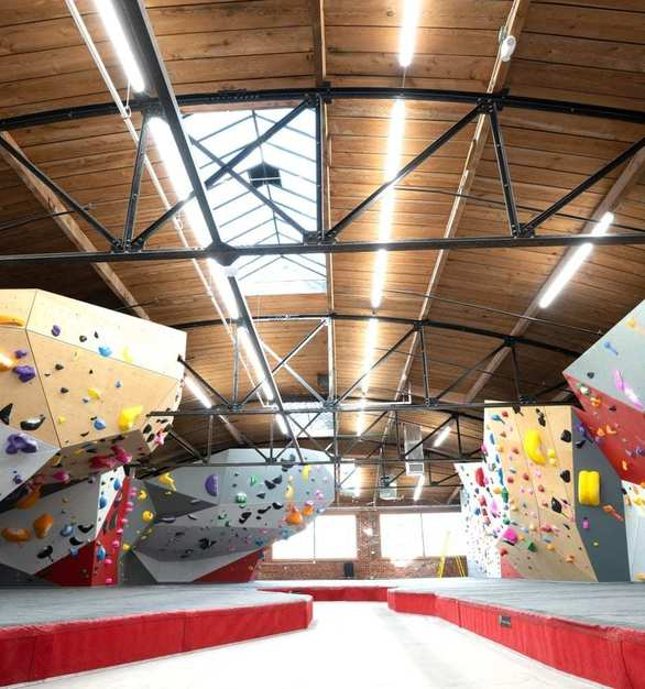 The Spot Denver Bouldering Gym is a breathtaking space featuring roofs galore and stunning arch.