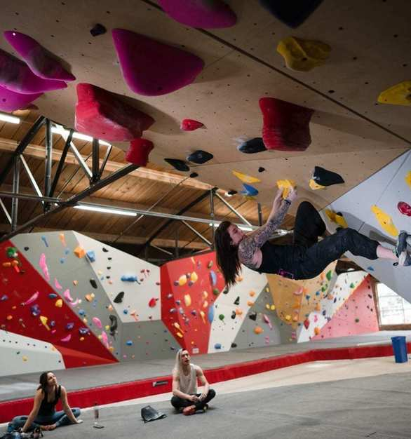 The Spot Denver Bouldering Gym features climbing walls up to 18' tall.