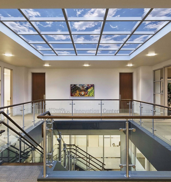 20' X 18' Virtual atrium at the Innovation Center, Capitol Commons, at the St. David's Foundation in Austin, TX.