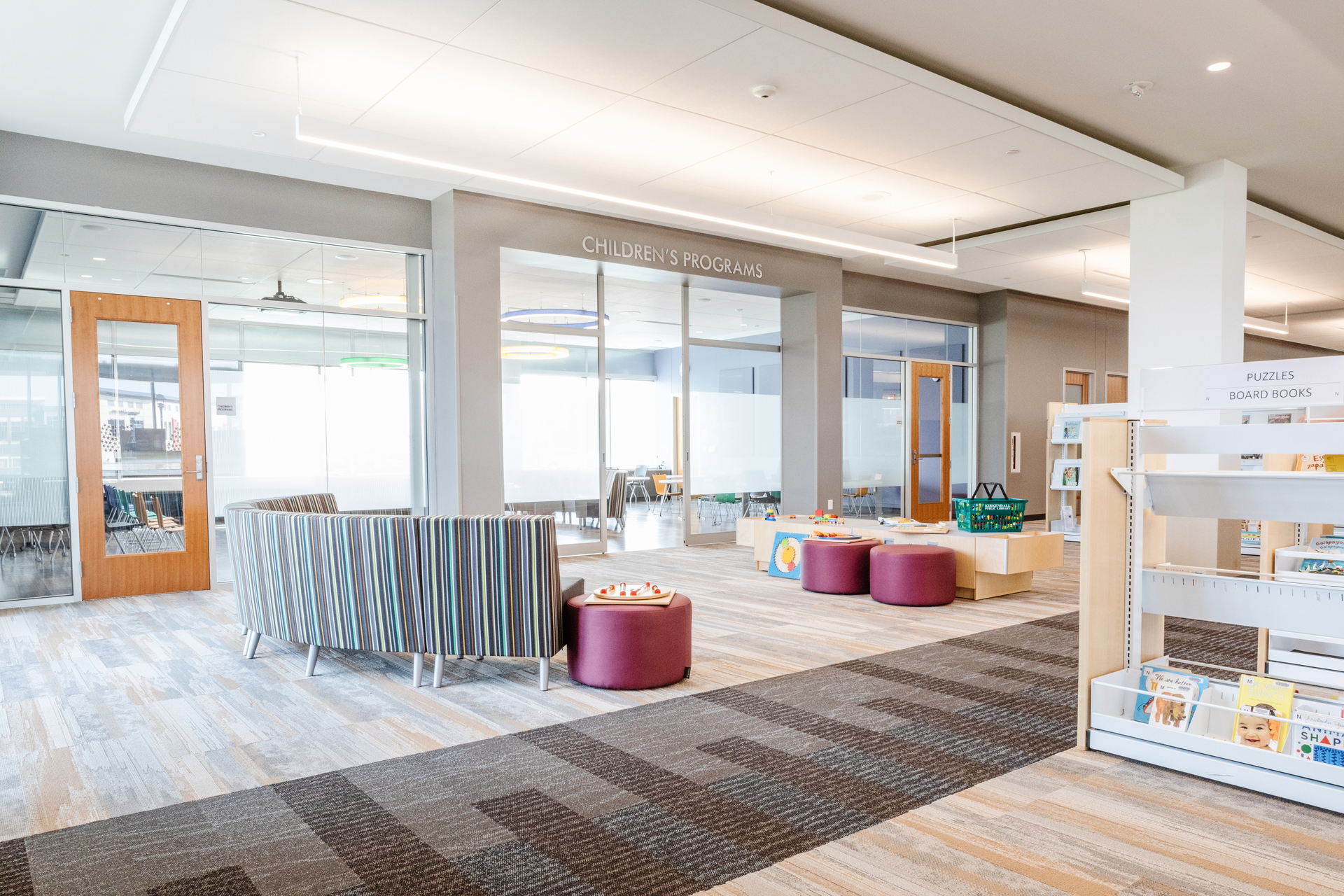 Stahl Construction Ankeny Kirkendall Public Library Interior Carpet Design and Layout