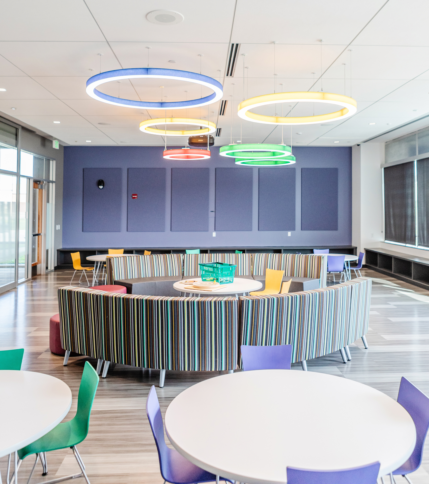 Stahl Construction Ankeny Kirkendall Public Library Interior Guest and Visitor Colorful Gathering Area