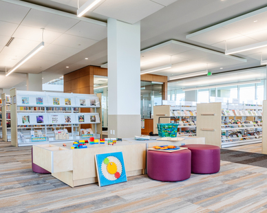 Stahl Construction Ankeny Kirkendall Public Library Interior Linear Pendant Lights