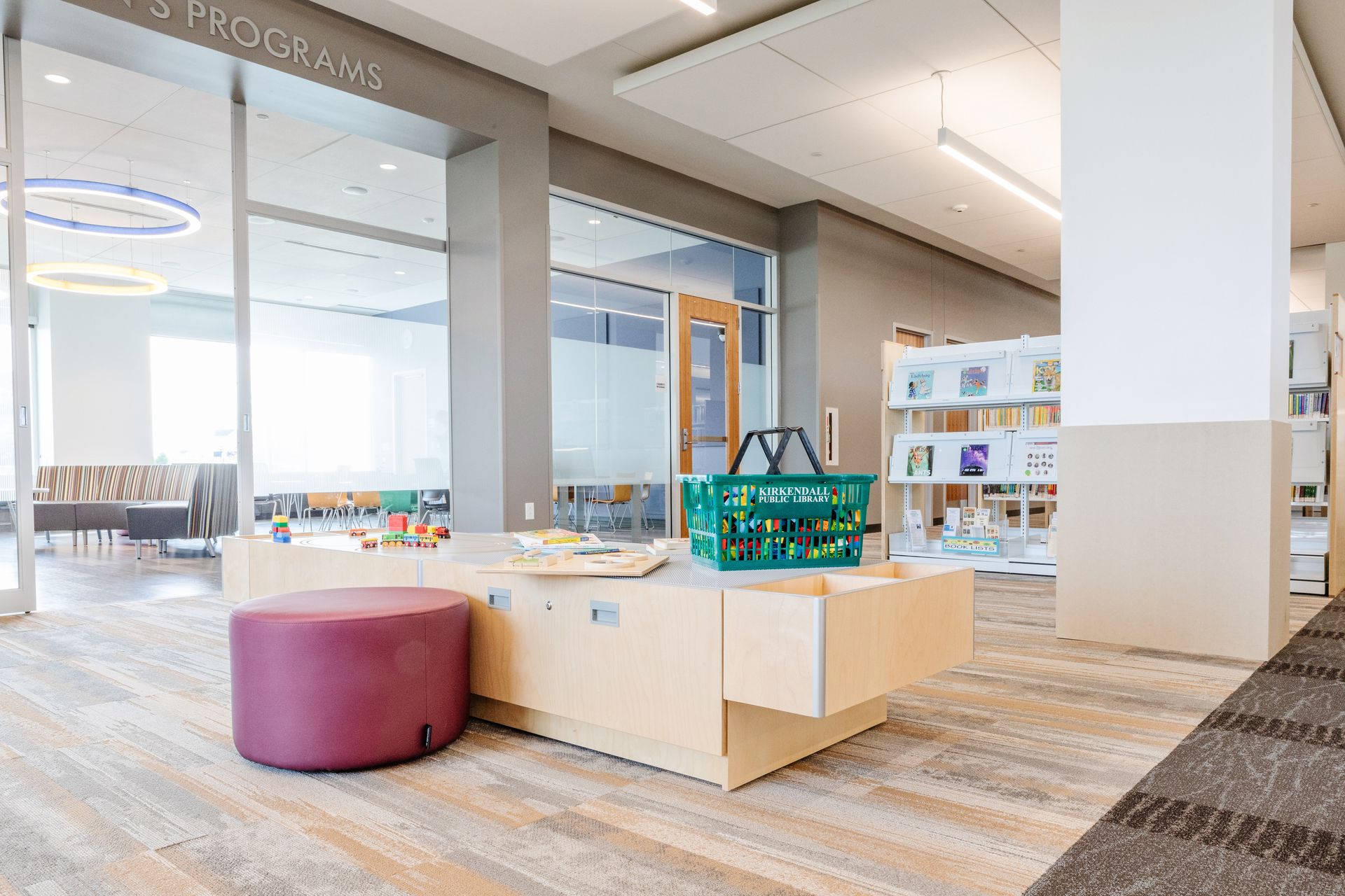 Stahl Construction Ankeny Kirkendall Public Library Interior Open Activity Spaces and Versatile Tables and Seating
