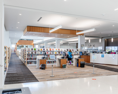 Stahl Construction Ankeny Kirkendall Public Library Interior Social Distancing Check In Counter