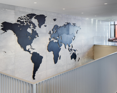 Stahl Construction General Contractor Minnesota Army National Guard Readiness Center Arden Hills Minnesota Interior Stairway and Hallway World Map Hung on Marble Wall