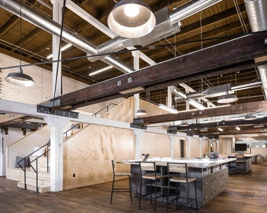 The expansive workspace for employees to use and collaborate at Stahl Office Headquarters located in Minneapolis, MN.