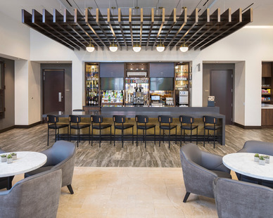The bar area with an updated look at Custom House Hyatt Place in St. Paul, MN.