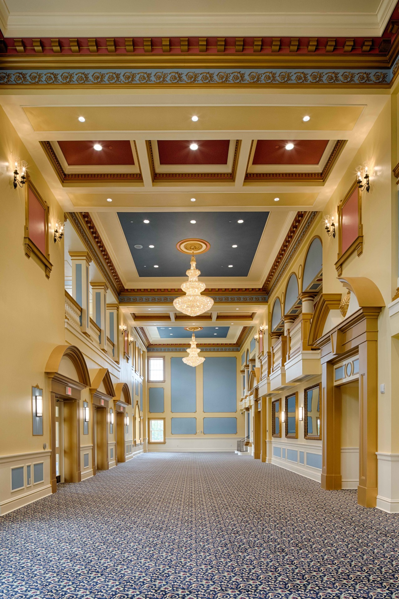 The gorgeous and classic design of the lobby at Providence Academy Performing Arts Center in Plymouth, Minnesota, by Stahl.