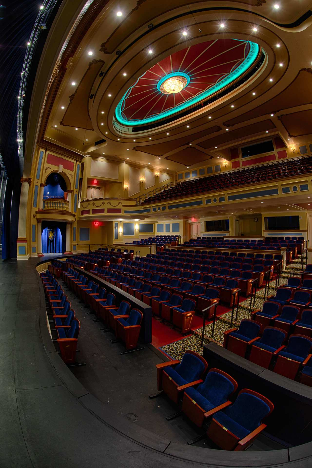 The unique RGB LED ceiling lighting at Providence Academy: Performing Arts Center in Plymouth, Minnesota, by Stahl.