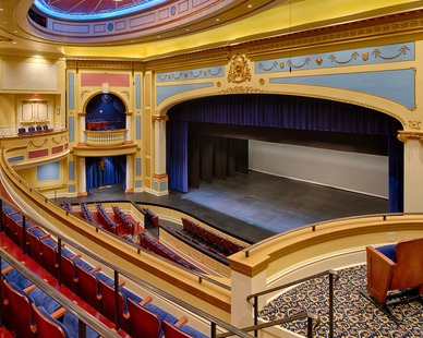 The balcony seating view at Providence Academy: Performing Arts Center in Plymouth, Minnesota, by Stahl.