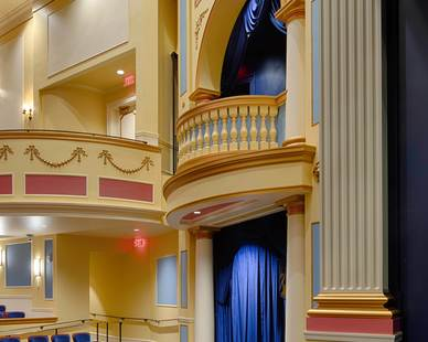 Closeup of the classic theatre design at Providence Academy: Performing Arts Center in Plymouth, Minnesota, by Stahl.