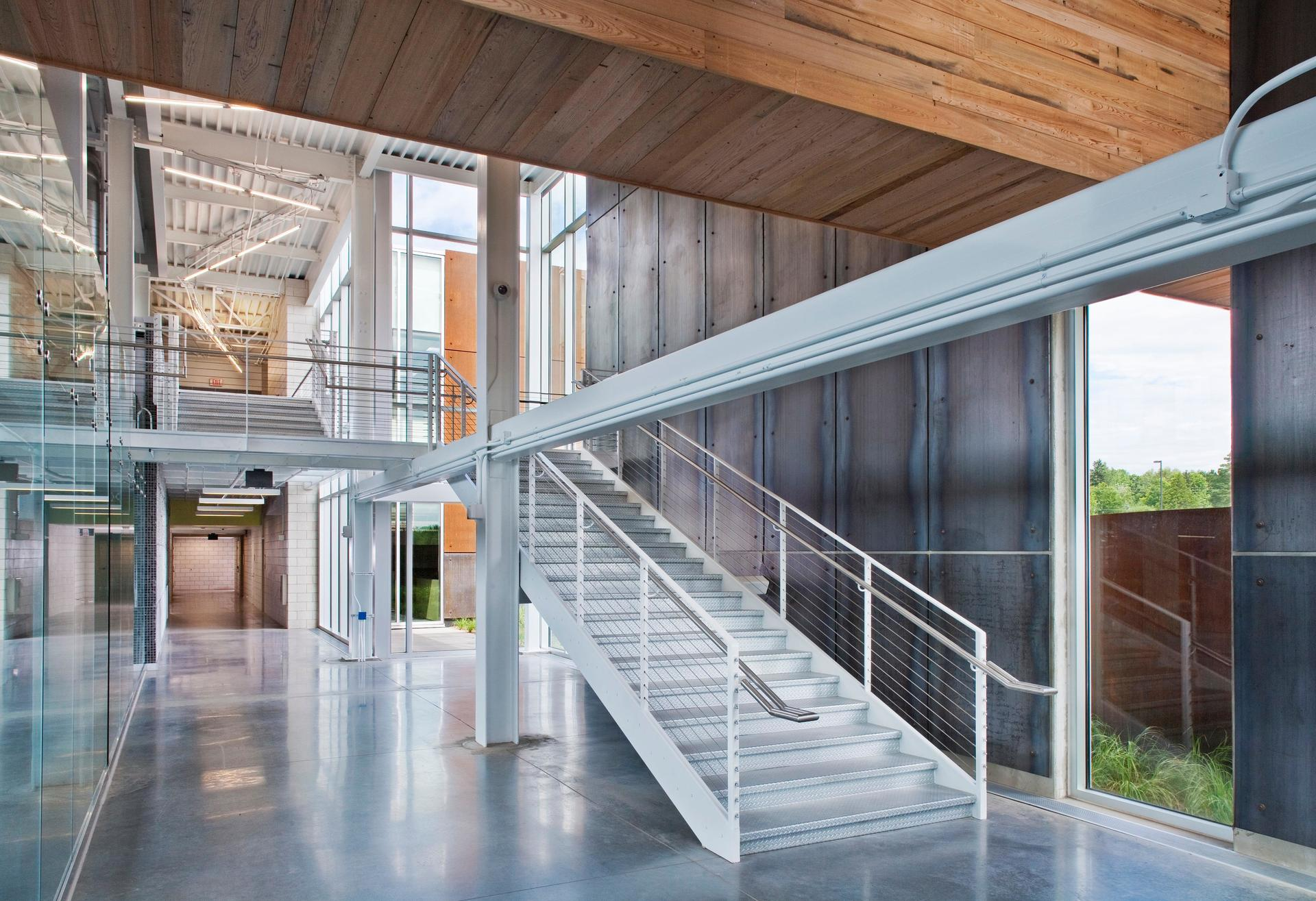 The clean aesthetic of the interior stairs at the UMD: Swenson Civil Engineering Building in Duluth, Minnesota, by Stahl.