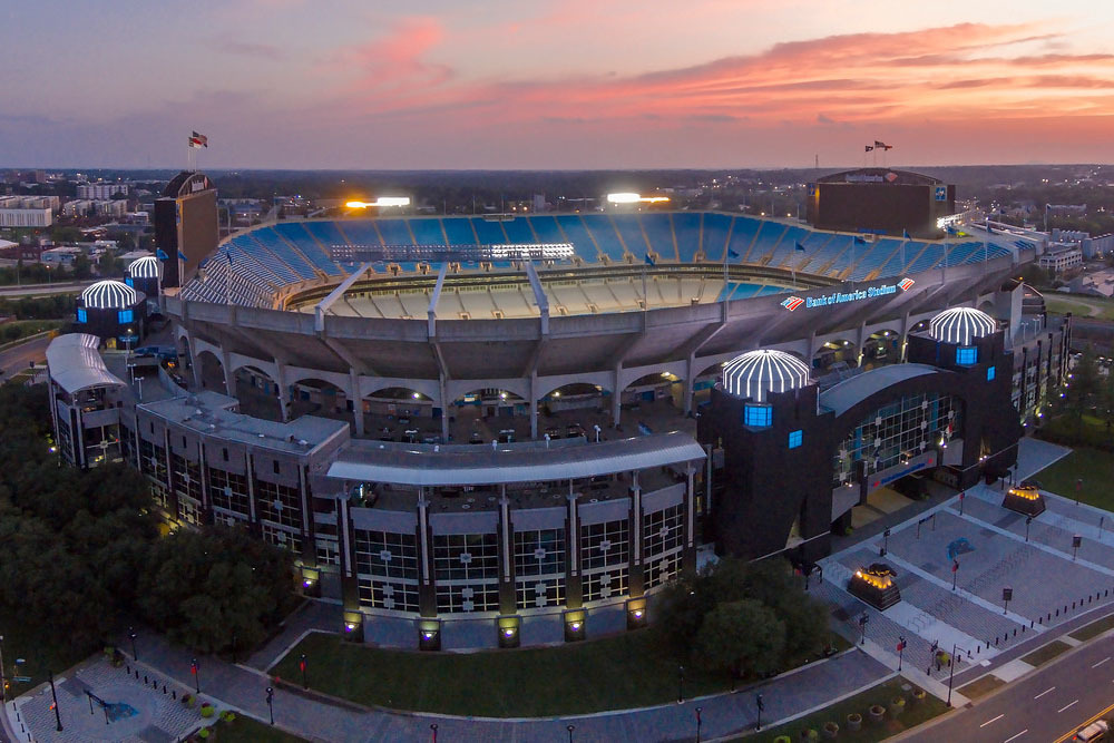 Stunning exterior view of Bank of America Stadium in Charlotte, NC. STI Firestop was proud to provide our unique and innovative firestopping products to this project.