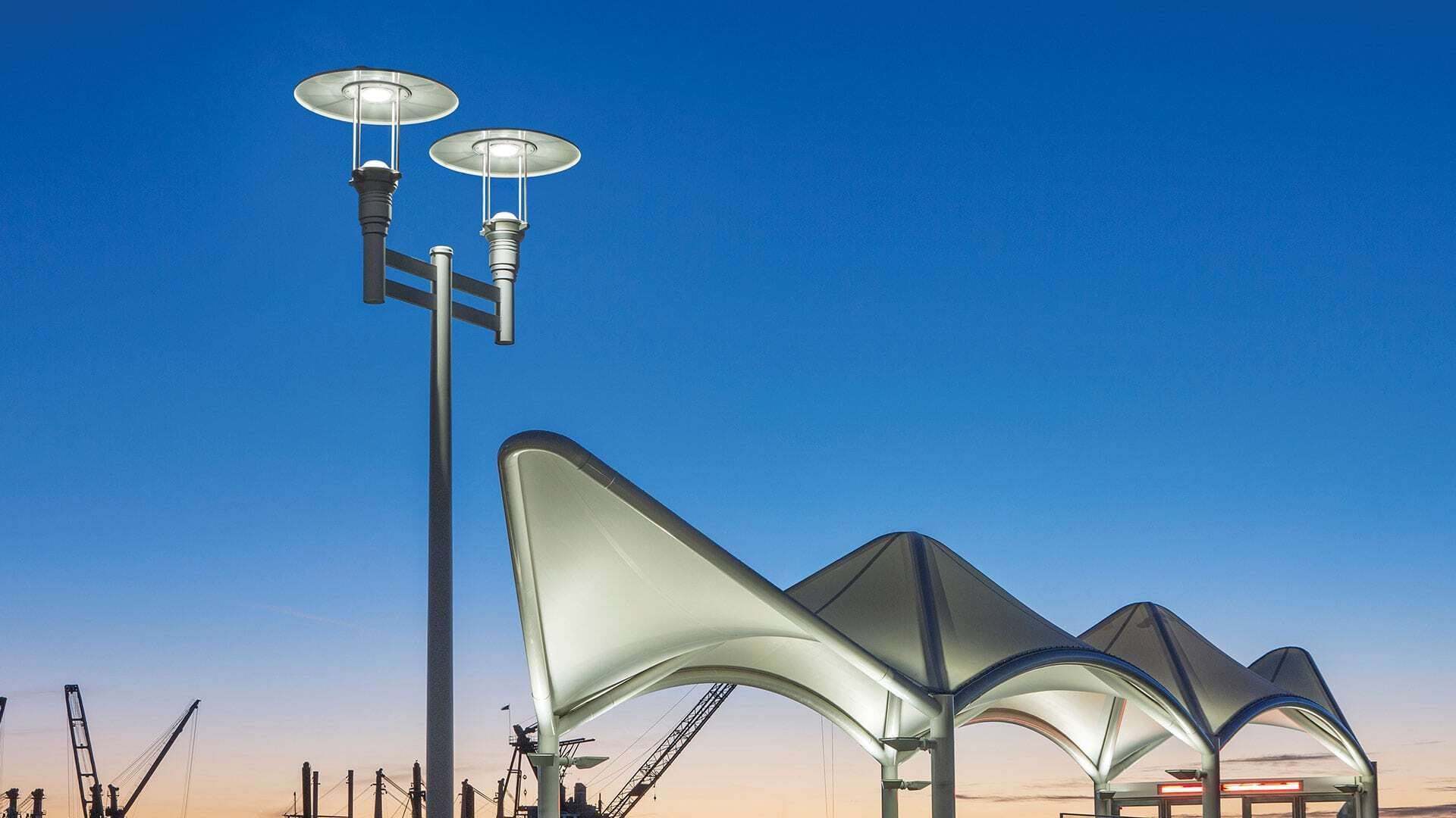 The Seaplane Lagoon Ferry Terminal is located in Alameda, CA featuring lighting products by Acuity Brands - Luminis®. Project in collaboration with Marcy Wong Donn Logan Architects and HLB Lighting.  Photographer: Billy Hustace Photography