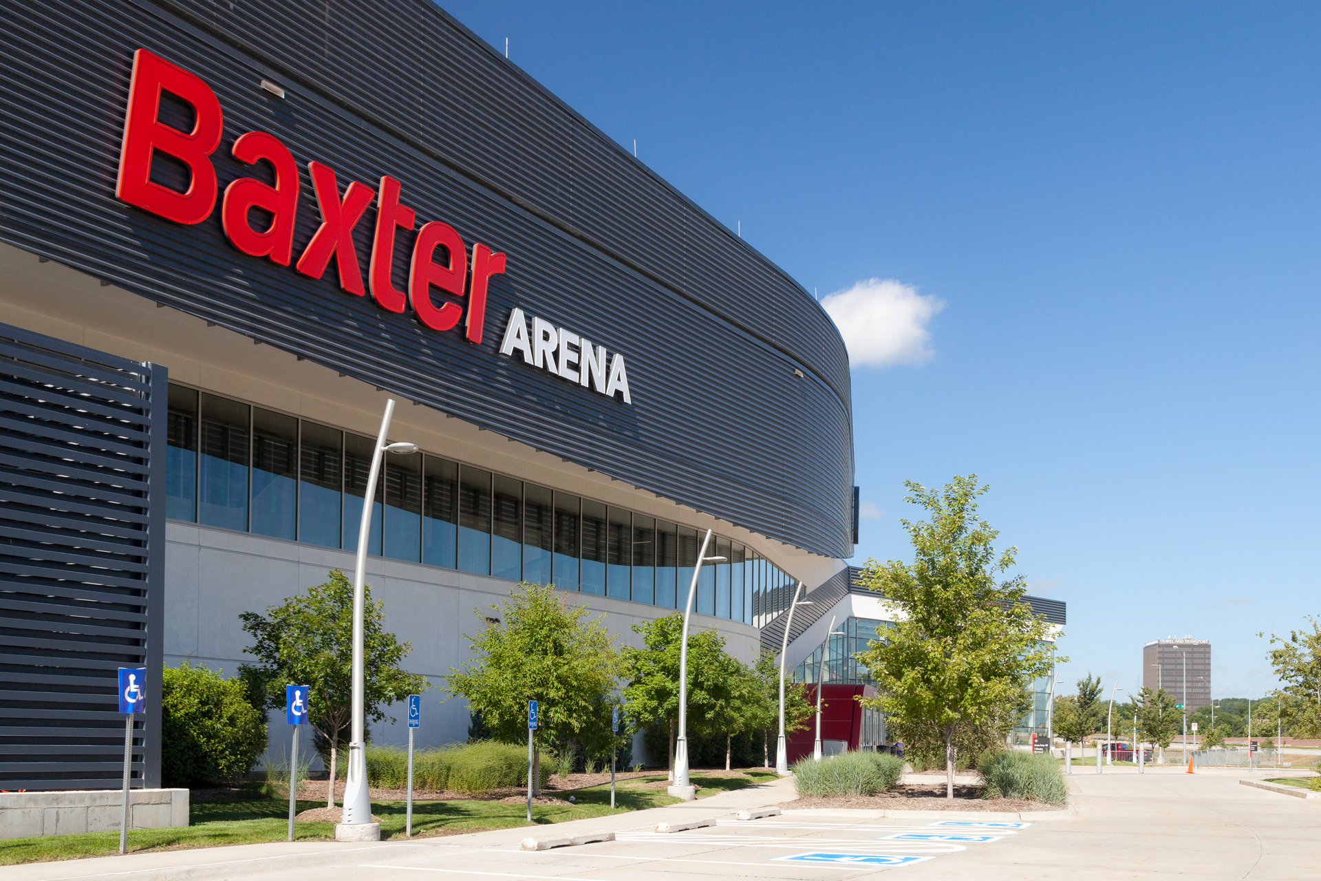 The outdoor parking areas at the Baxter Arena features our Flight Pole with mounted lighting fixtures to welcome guests and visitors to the stadium.