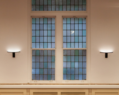 Structura Bnai Jeshurun Synagogue New York Common Area and Versatility Room Stained Glass Windows Sconce Lighting