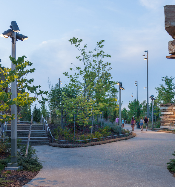 Tulsa's Riverfront Park is a public-private partnership covering about 100 acres and aims to serve as a cornerstone for the city vibrant community while improving social, economic and environmental sustainability in Tulsa.