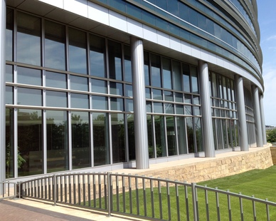 Commercial 3M window film applied to the exterior of this office building by Sun Control of Minnesota.