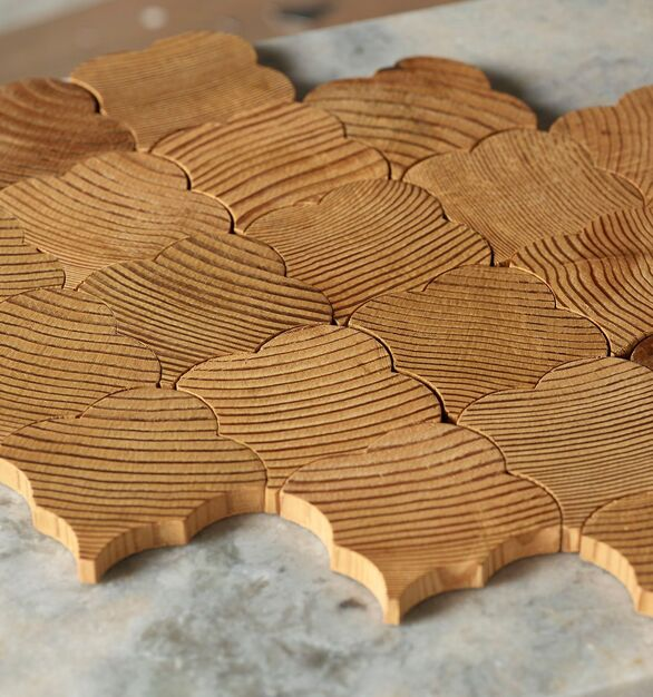Forest Elements Geometric Scallop Pattern Wood Mosaic Wall Tiles