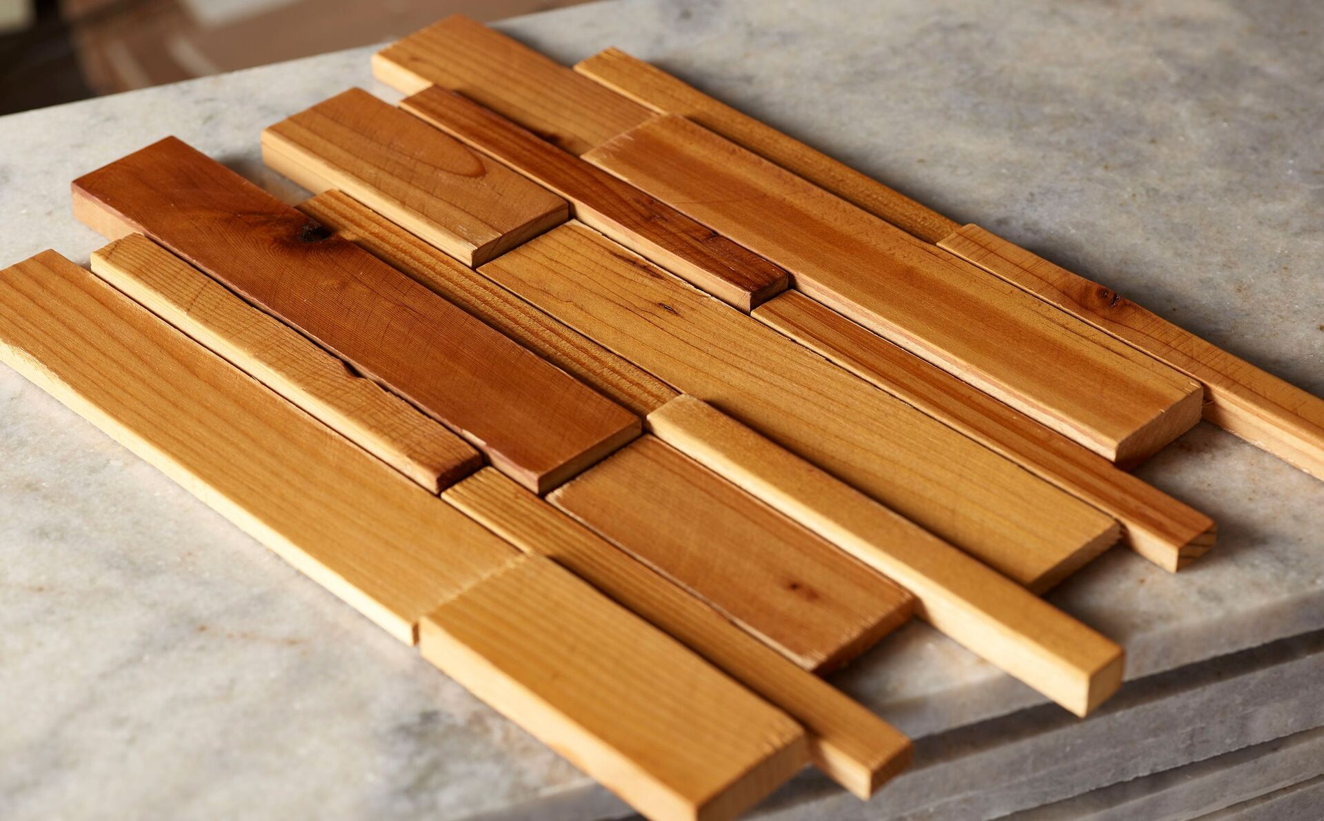Forest Elements Stereo Linear Wood Mosaic Wall Tiles Slat Wood