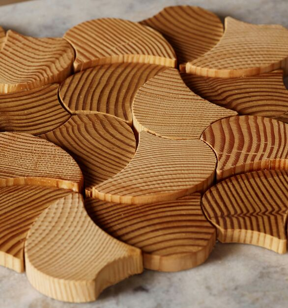 Forest Elements Stereo Pinwheel Wood Mosaic Wall Tiles