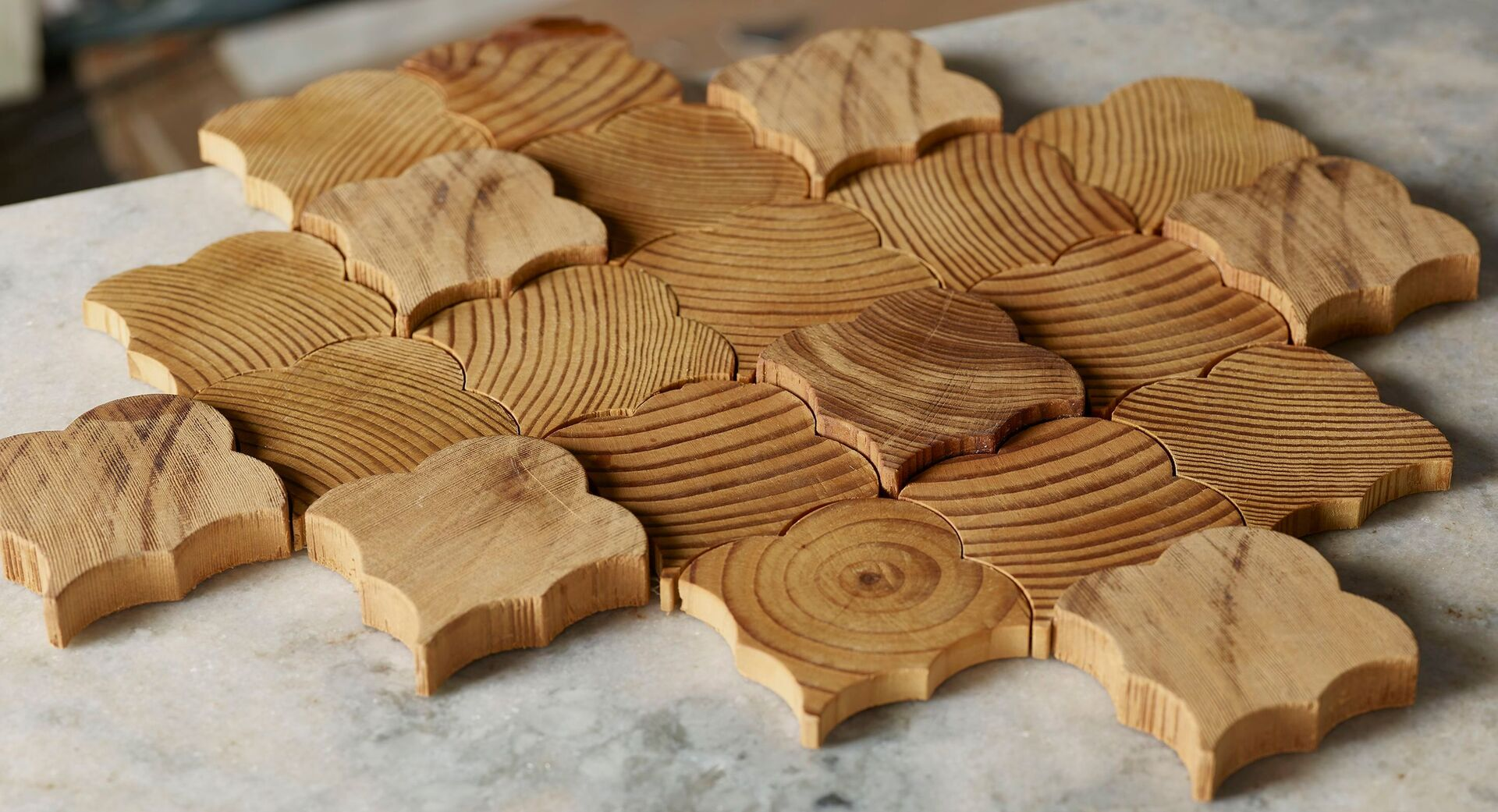 Forest Elements Stereo Scallop Wood Mosaic Wall Tiles