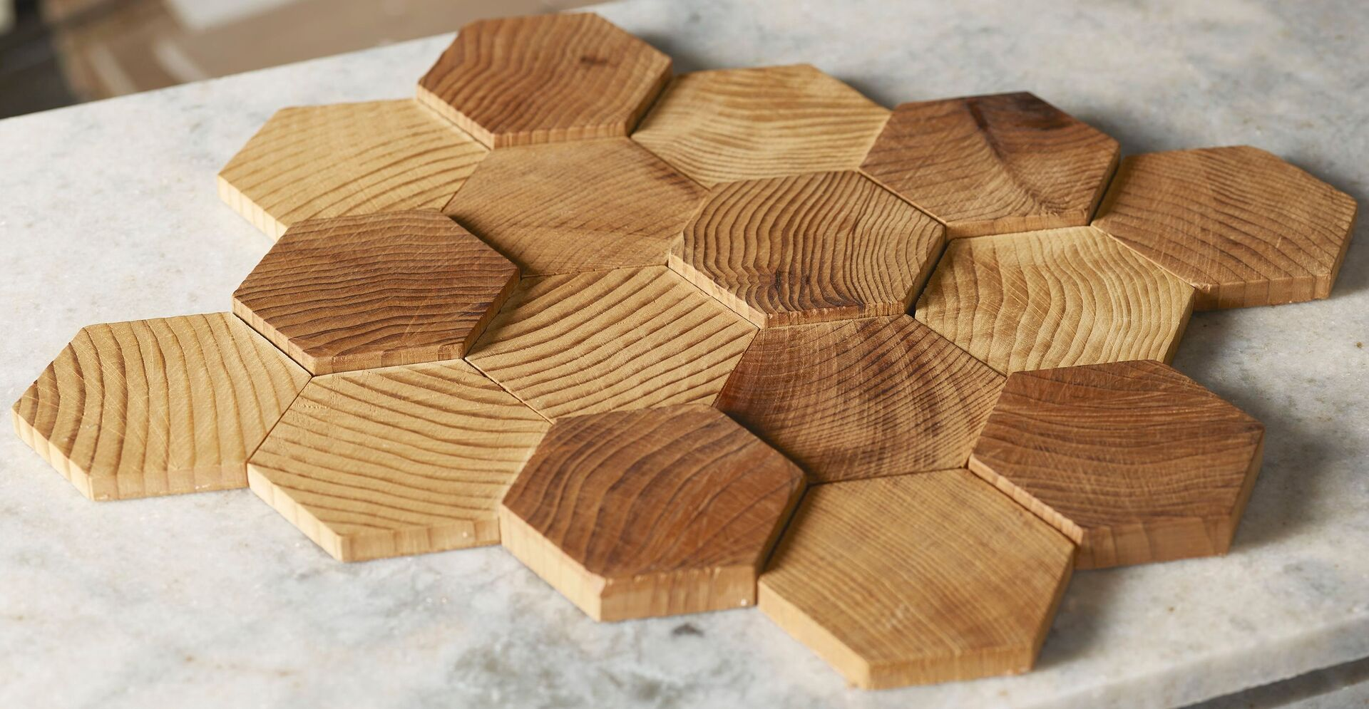 Forest Elements Stereo Standard Hexagon Mosaic Wood Wall Tiles: Stereo Standard Hexagon