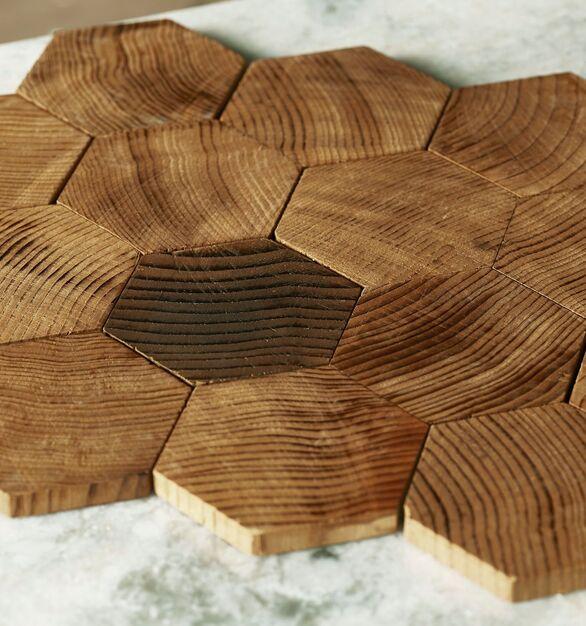 Forest Elements Geometric Standard Hexagon Mosaic Wood Wall Tiles: Geometric Standard Hexagon