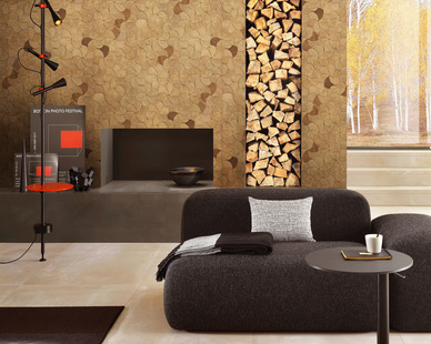 These gorgeous wood mosaic tiles are the focal point on this fireplace.  They offer rustic wood detail that brings sophistication to this setting.