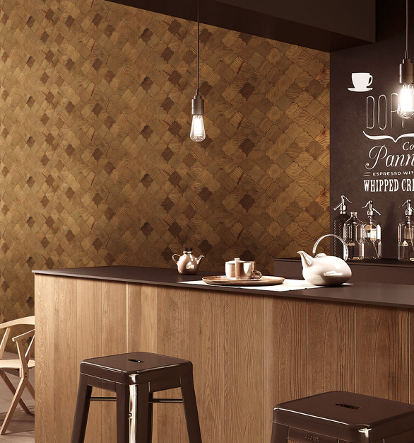 Wood mosaic wall tiles provide a unique, modern alternative to standard flat wall textures.  The panels create interesting patterns, elaborate works of art, or memorable feature wall.