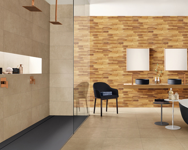 Wood mosaic wall tiles provide a unique, modern alternative to standard flat wall texture. The panels create interesting patterns, elaborate works of art, or memorable feature wall in a bathroom.