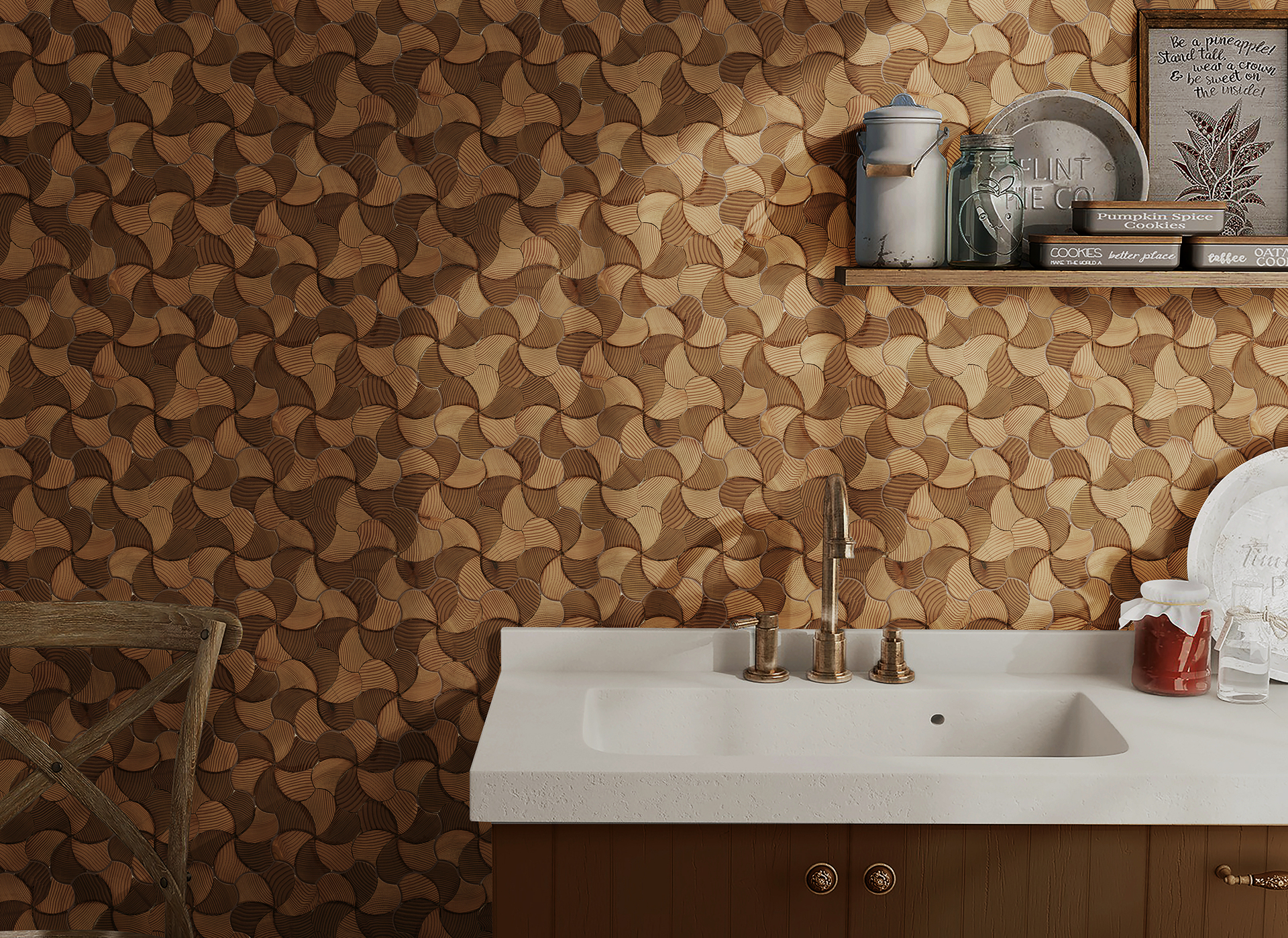 Create an attractive focal point with decorative wood mosaic tiles. These mosaic style tiles offer rustic wood detail that brings sophistication to your setting.