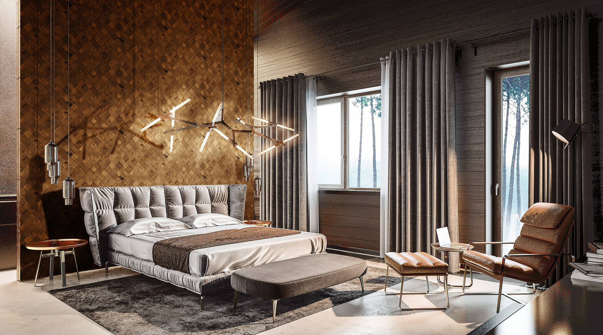 Stereo Scallop natural wood tile has an artistic design that brings natural beauty into this bedroom.