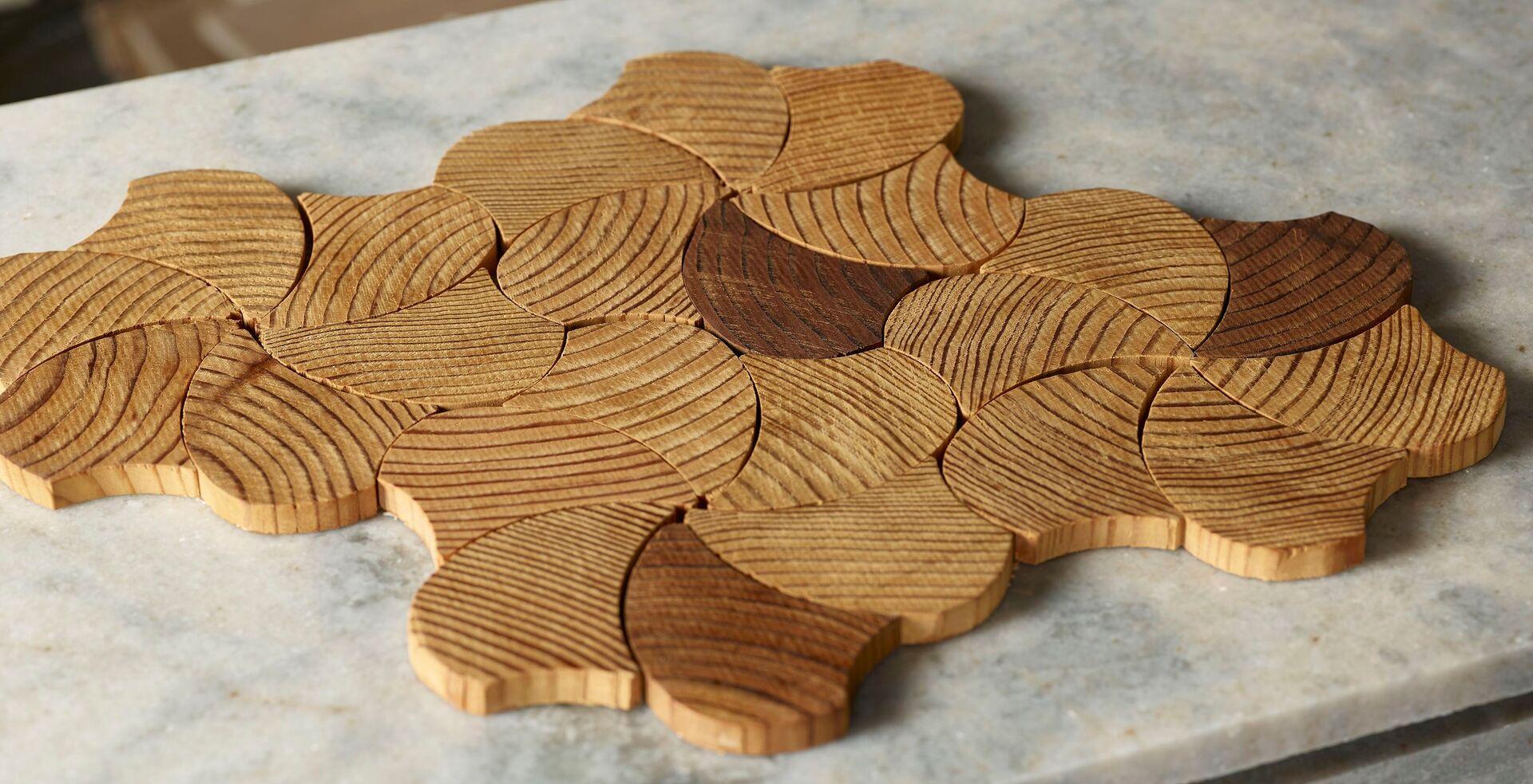 Forest Elements Wood Mosaic Wall Tiles Geometric Pinwheel