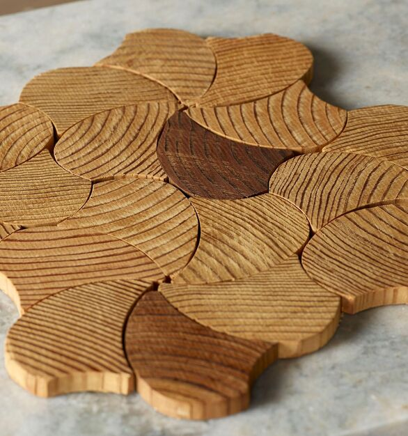 Forest Elements Wood Mosaic Wall Tiles Geometric Pinwheel