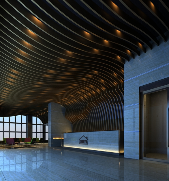 Tamlyn headquarters featuring the RVDF-100 to create a reveal with marble panels.
