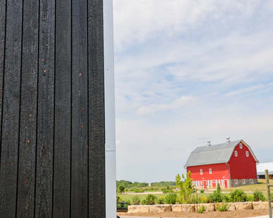 The Tashjian Center, which is located within the University of Minnesota's Landscape Arboretum, showcases Arbor Wood's charred cladding.