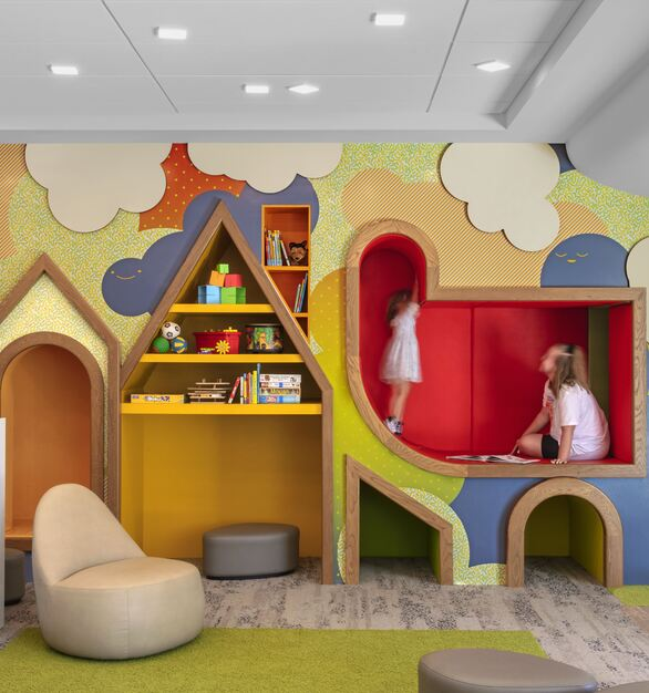 The children's room at the Donald Dungan Library features fun, custom built-ins for children to play and read in.