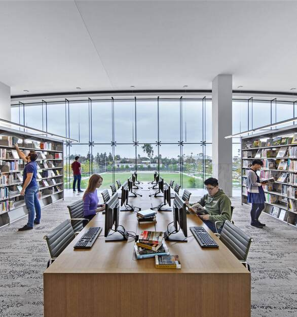 Tate Inc's Raised Access Floors with Underfloor Air Distribution were a great solution for the building's designs, such as the library that feature large windows and unique architectural elements.