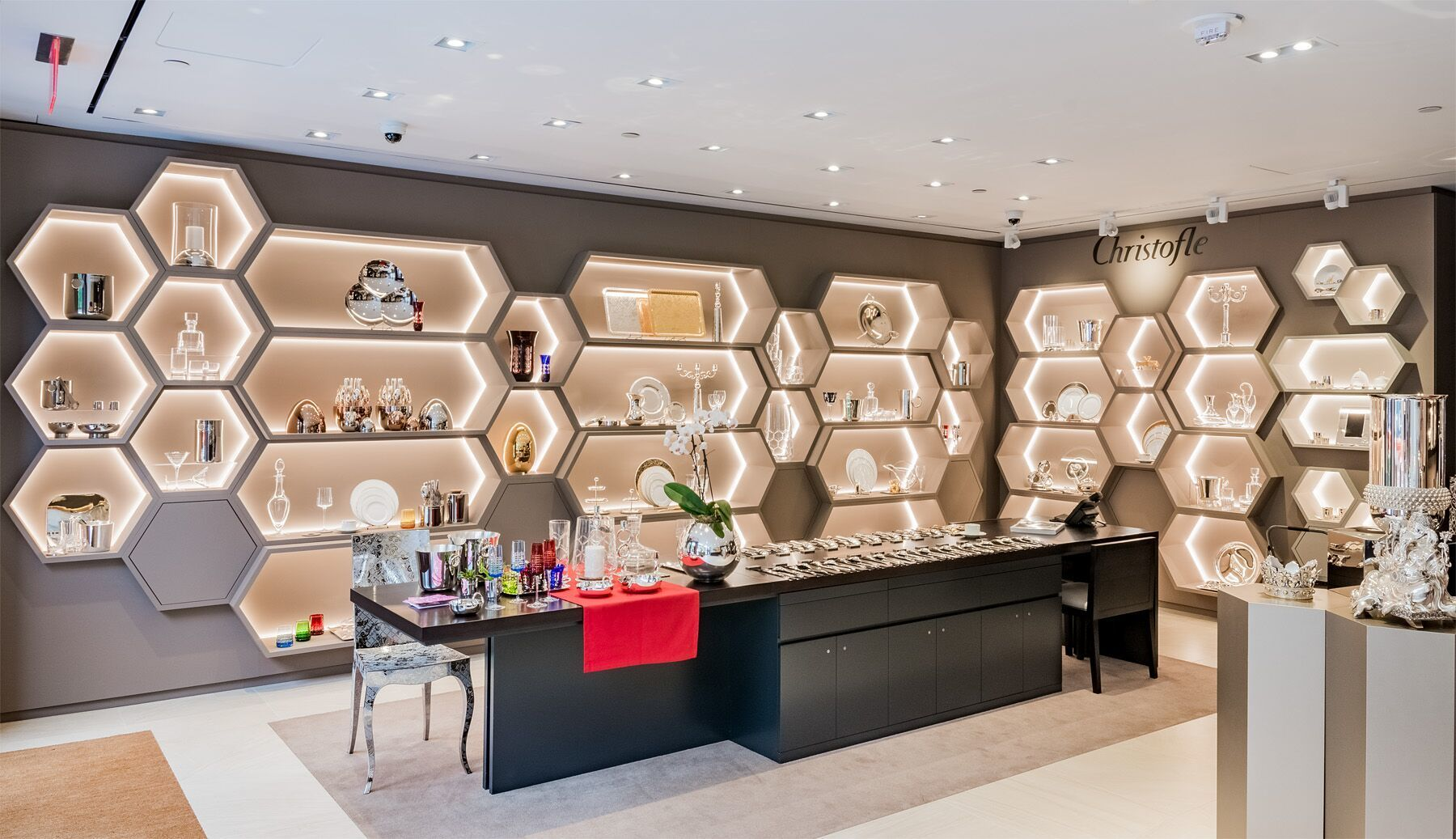 Plenty of shelving was a necessity for Christofle Paris to showcase their flatware and silverware at their downtown Washington D.C. located.