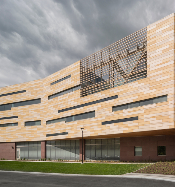 Bethesda North Hospital in Montgomery, Ohio utilizes unique wall cladding and sunscreen applications with intermittent finishes and colors, by Terreal.