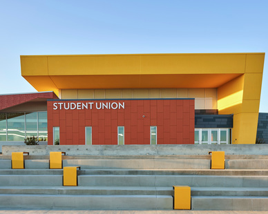 Piterak Slim Terracotta Cladding Panels were selected for the College of Southern N. Las Vegas campus student union project, by Terreal North America.