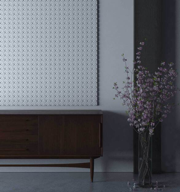 Durasein is known for its solid surface materials, seen in this gallery is a texture parametric wall paneling design by Durasein x Patternine.