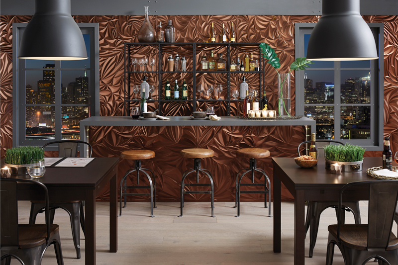 Textured feature wall creates such character at this bar.
