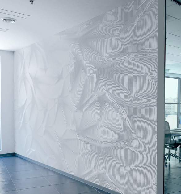 Parametric wall paneling designs seen here are Durasein x Patternine.