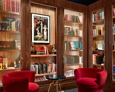 The Chicago Round Table Library is a unique and artfully completed space featuring comfortable seating and tasteful decor.